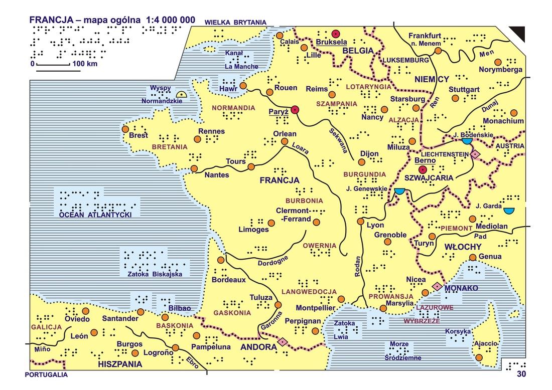 30 31 Francja Mapa Ogolna I Rzezba Terenu