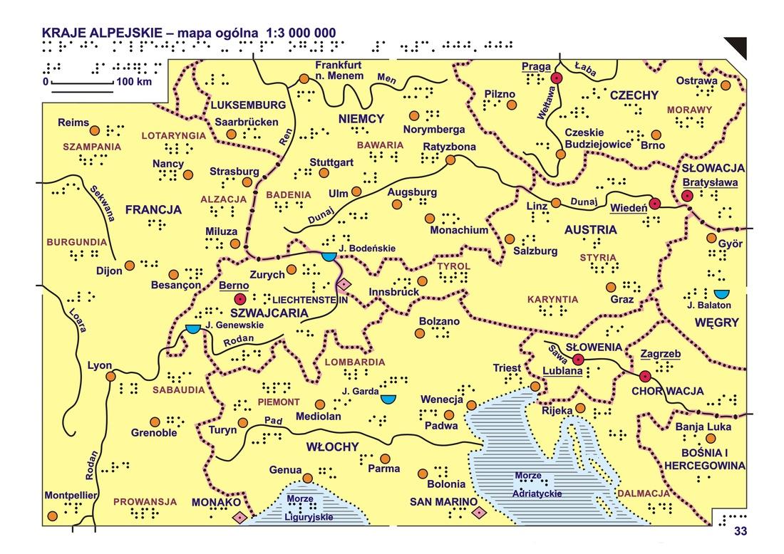 33 34 Kraje Alpejskie Mapa Ogolna I Rzezba Terenu