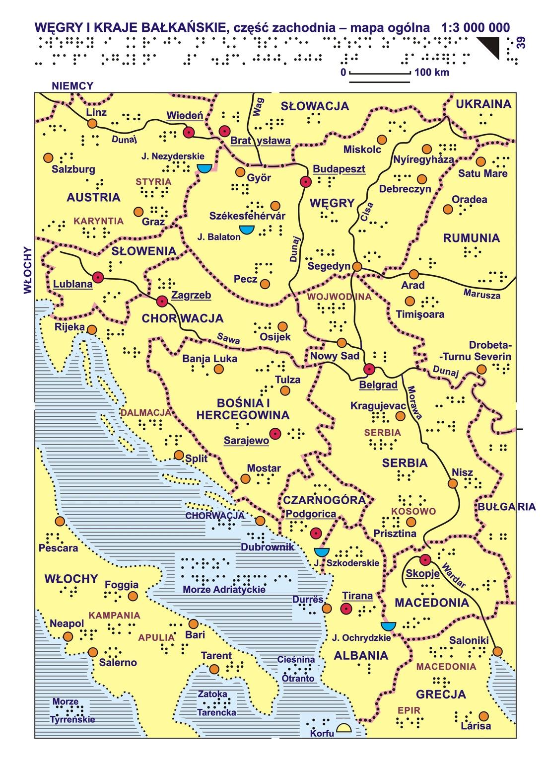 39 40 Wegry I Kraje Balkanskie Czesc Zachodnia Mapa Ogolna I