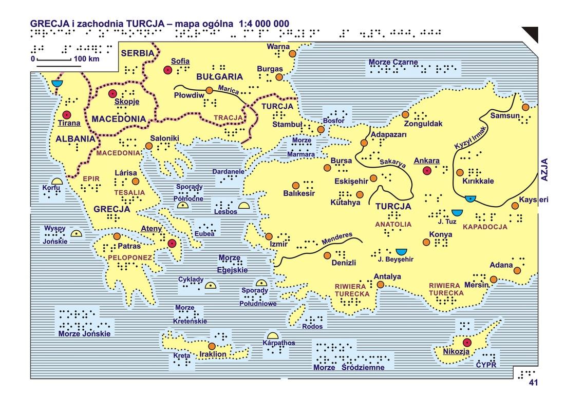 41 42 Grecja I Zachodnia Turcja Mapa Ogolna I Rzezba Terenu
