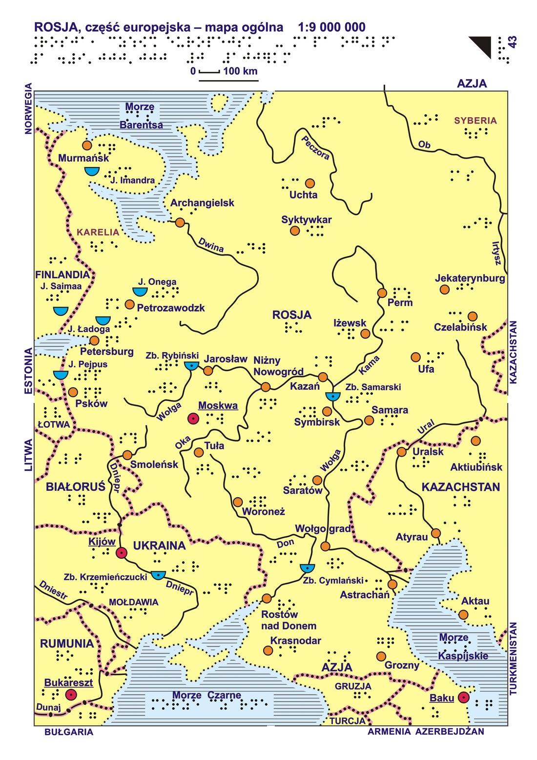 43 44 Rosja Czesc Europejska Mapa Ogolna I Rzezba Terenu